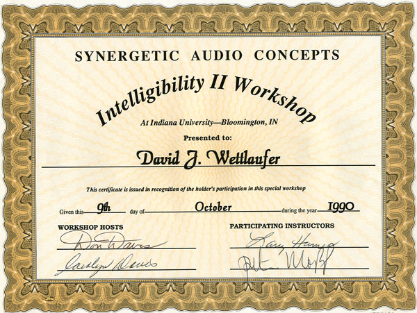 River Valley Studio - Synergetic Audio Concepts - Intelligibility 2 Workshop Certificate