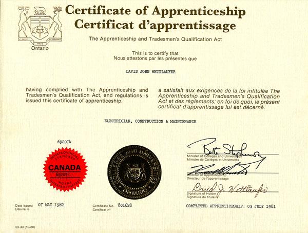 River Valley Studio - Certificate of Apprenticeship
