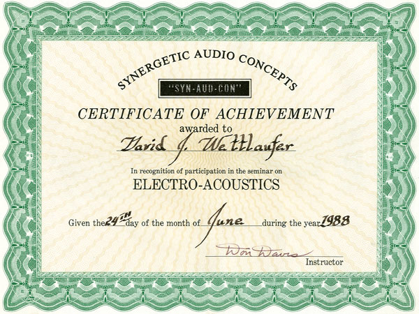 River Valley Studio - Synergetic Audio Concepts - Certificate of Achievement - Electro Acoustics