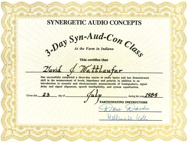 River Valley Studio - Synergetic Audio Concepts -3 Day Syn-Aud-Con Class Certificate