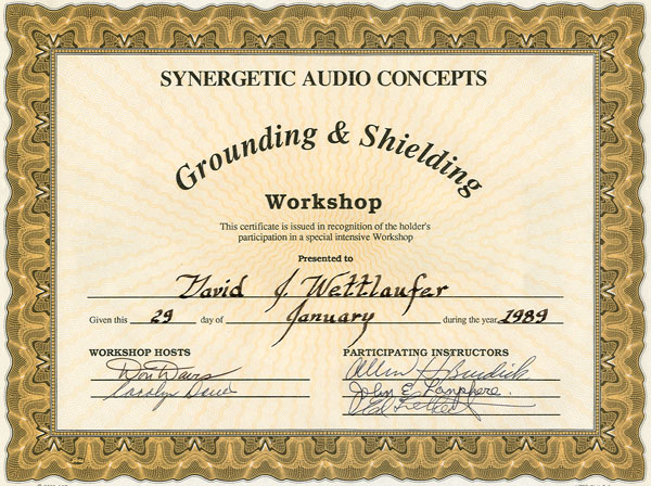 River Valley Studio - Synergetic Audio Concepts - Grounding & Shielding Workshop Certificate