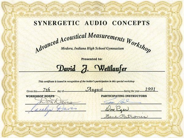 River Valley Studio -Synergetic Audio Concepts Advanced Acoustical Measurements Workshop