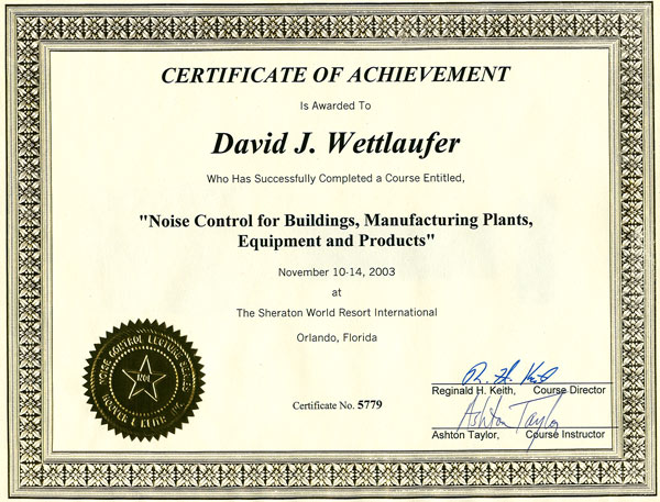 River Valley Studio - Certificate of Achievement - Noise Control for Building, Manufacturing Plants, Equipment and Products
