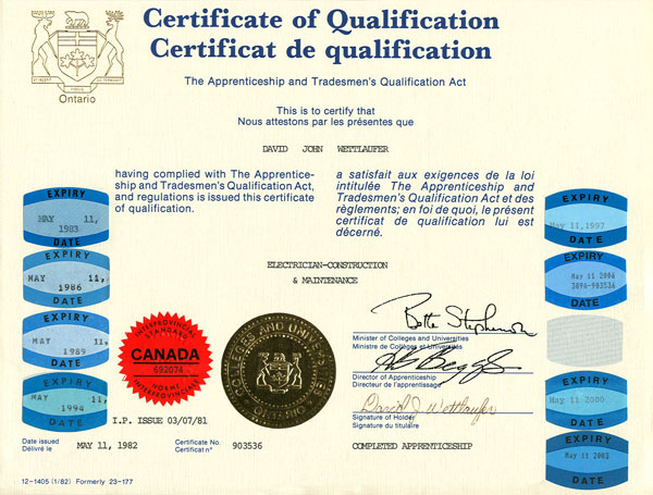 River Valley Studio - Certificate of Qualification Electrician - Construction & Maintenance